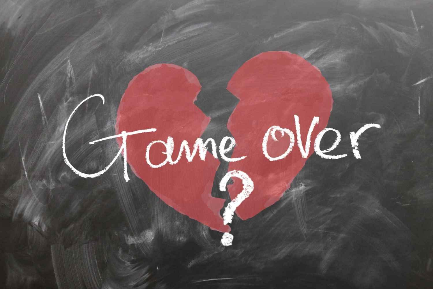 red broken heart game over breakup
